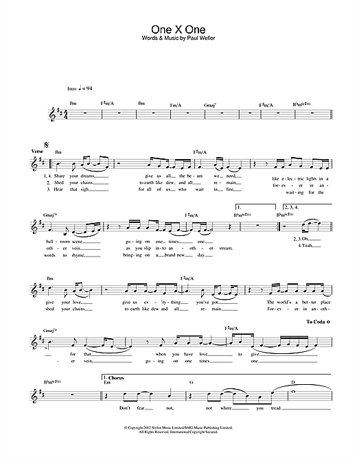 One X One (Lead Sheet / Fake Book)
