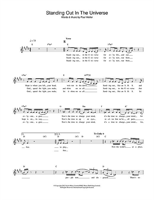 Standing Out In The Universe (Lead Sheet / Fake Book)