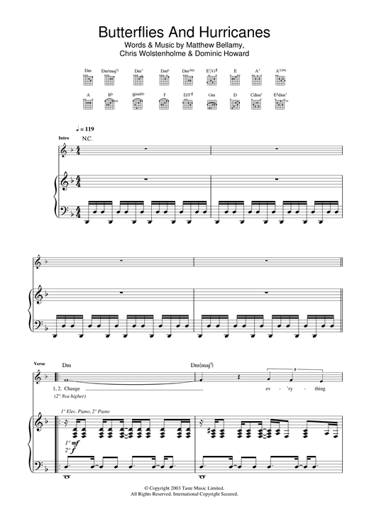 Butterflies And Hurricanes Sheet Music