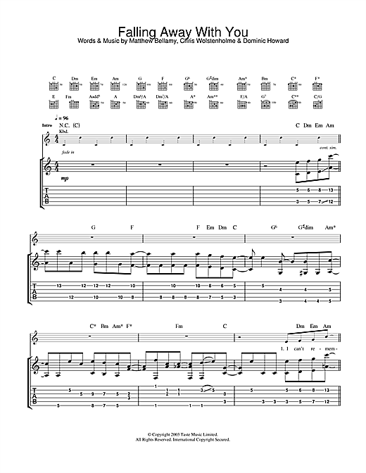 Falling Away With You Sheet Music