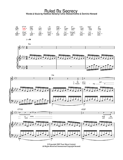 Ruled By Secrecy Sheet Music
