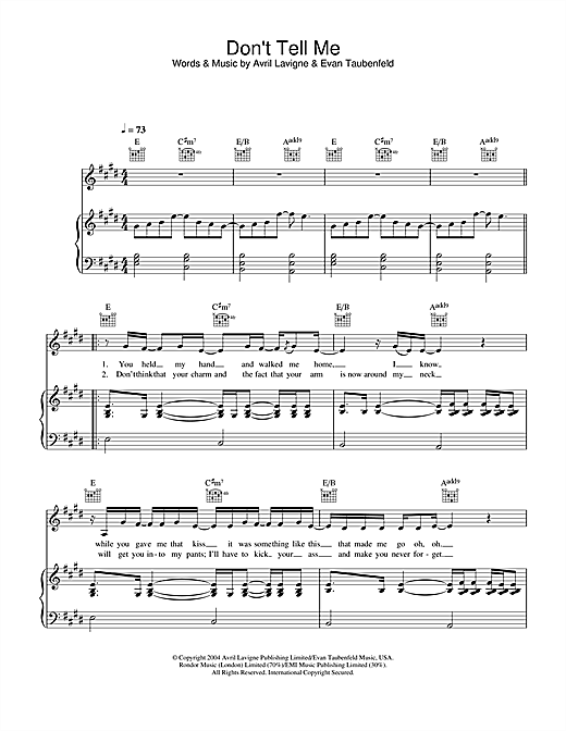 Don't Tell Me Sheet Music