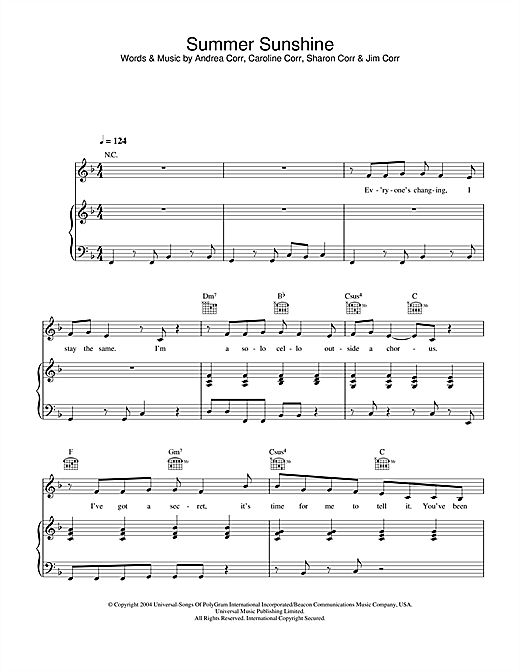 Summer Sunshine Sheet Music