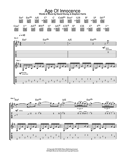 Tablature guitare Age Of Innocence de Iron Maiden - Tablature Guitare