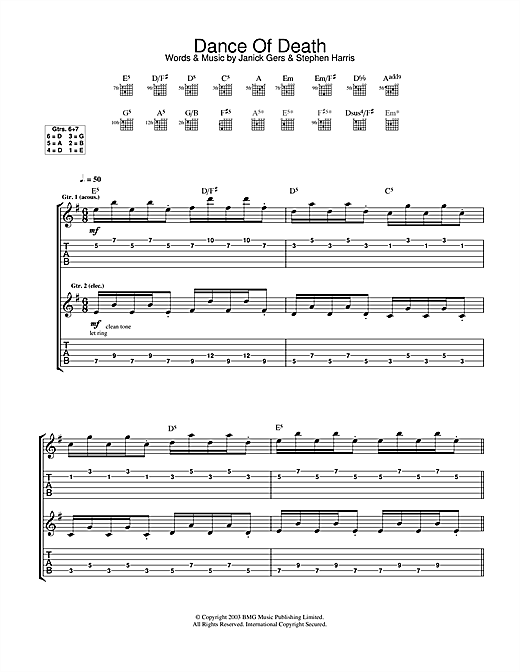 Tablature guitare Dance Of Death de Iron Maiden - Tablature Guitare