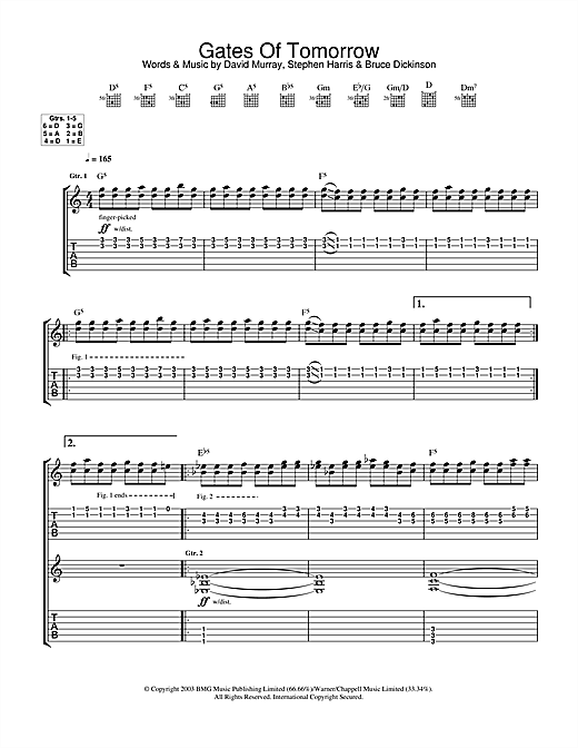 Tablature guitare Gates Of Tomorrow de Iron Maiden - Tablature Guitare