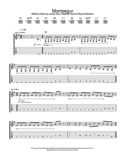Tablature guitare Montsegur de Iron Maiden - Tablature Guitare
