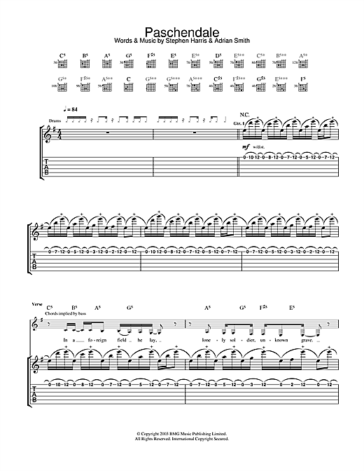 Tablature guitare Paschendale de Iron Maiden - Tablature Guitare