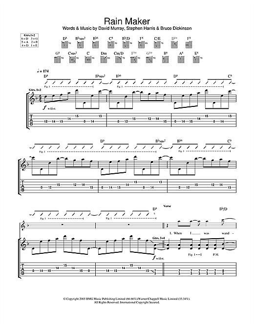 Tablature guitare Rain Maker de Iron Maiden - Tablature Guitare