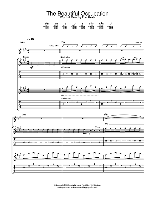Tablature guitare The Beautiful Occupation de Travis - Tablature Guitare