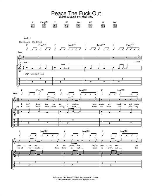 Peace The Fuck Out Sheet Music