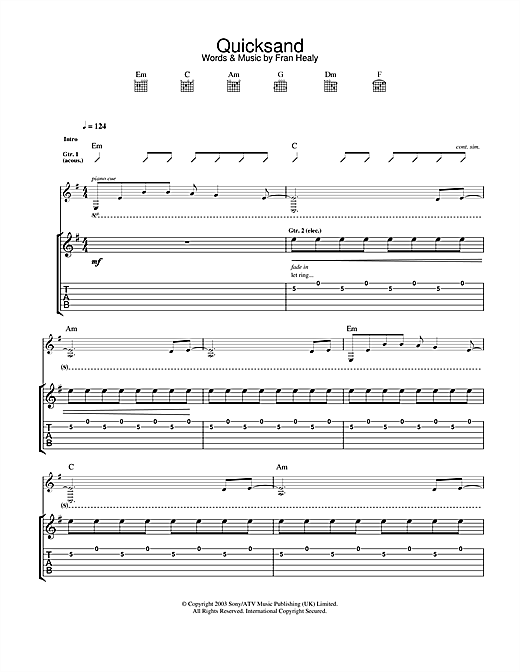 Quicksand Sheet Music