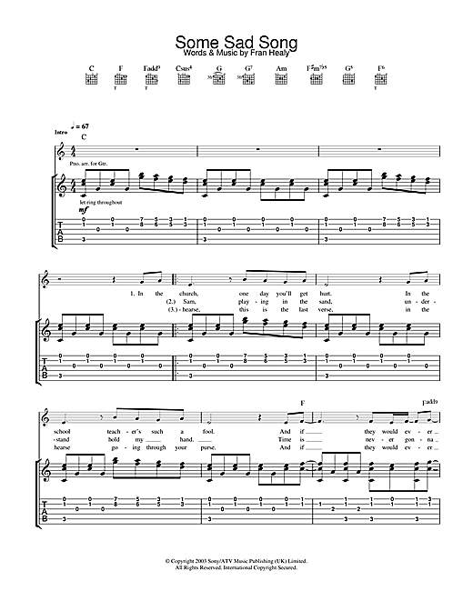 Tablature guitare Some Sad Song de Travis - Tablature Guitare