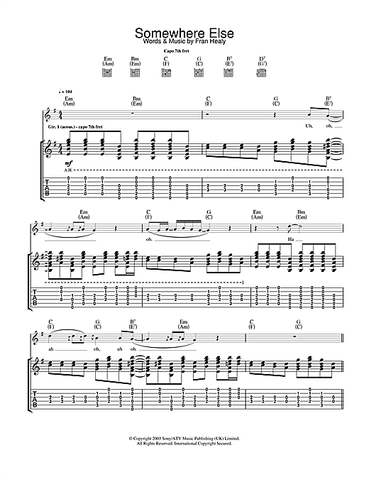 Tablature guitare Somewhere Else de Travis - Tablature Guitare