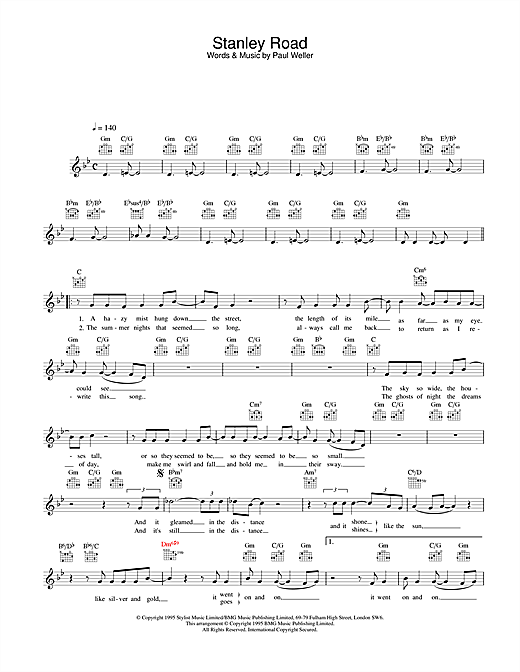 Stanley Road (Lead Sheet / Fake Book)