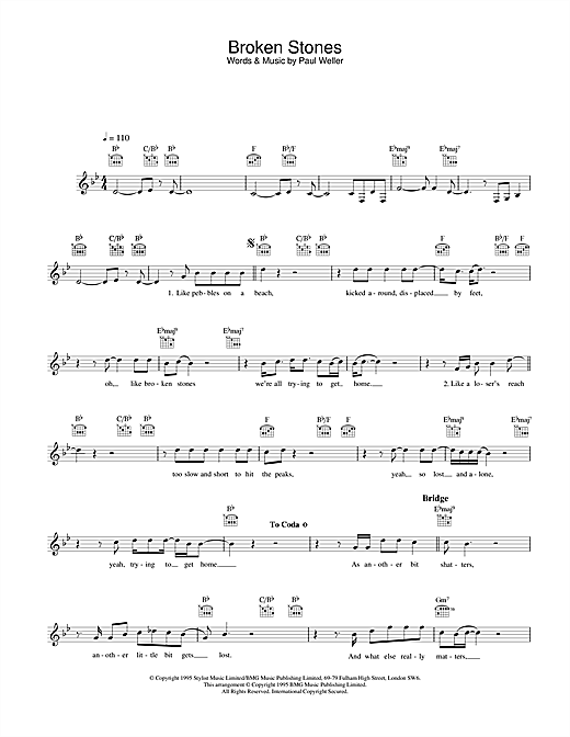 Broken Stones (Lead Sheet / Fake Book)
