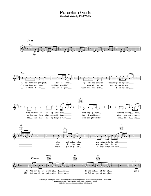 Porcelain Gods Sheet Music