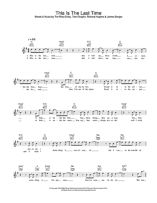 This Is The Last Time (Lead Sheet / Fake Book)