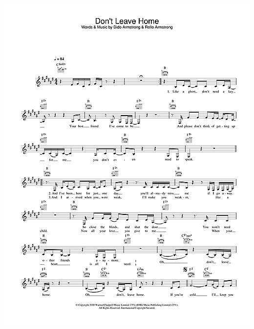 Don't Leave Home (Lead Sheet / Fake Book)