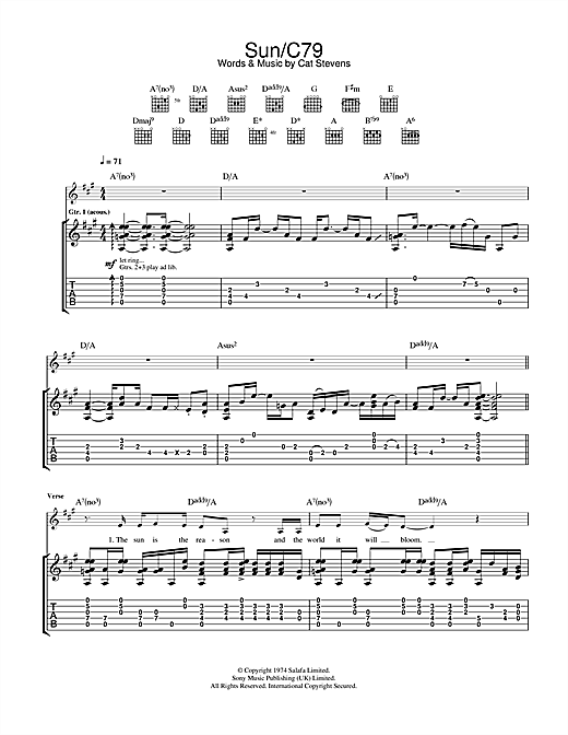 Tablature guitare Sun/C79 de Cat Stevens - Tablature Guitare