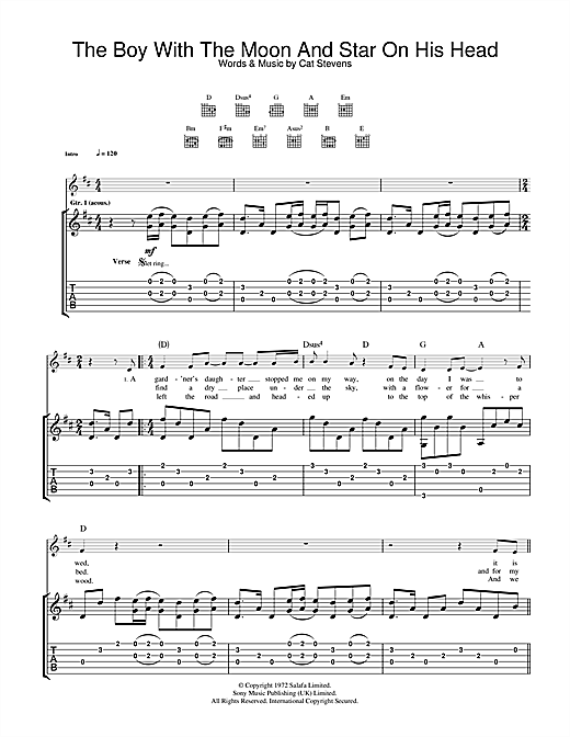 Tablature guitare The Boy With The Moon And Star On His Head de Cat Stevens - Tablature Guitare
