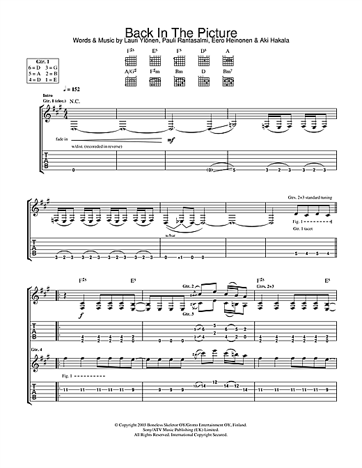 Back In The Picture (Guitar Tab)