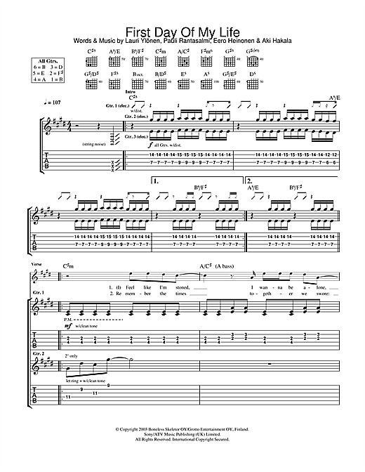 First Day Of My Life Sheet Music