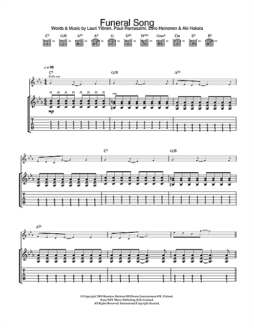 Funeral Song Sheet Music