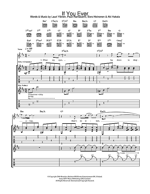 Tablature guitare If You Ever de The Rasmus - Tablature Guitare