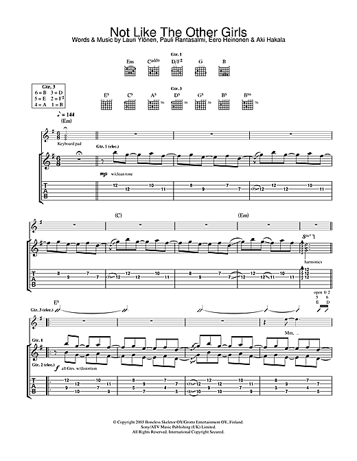 Tablature guitare Not Like The Other Girls de The Rasmus - Tablature Guitare