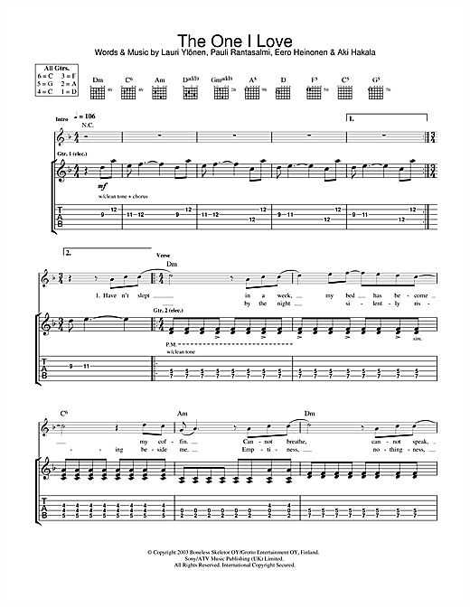 Tablature guitare The One I Love de The Rasmus - Tablature Guitare