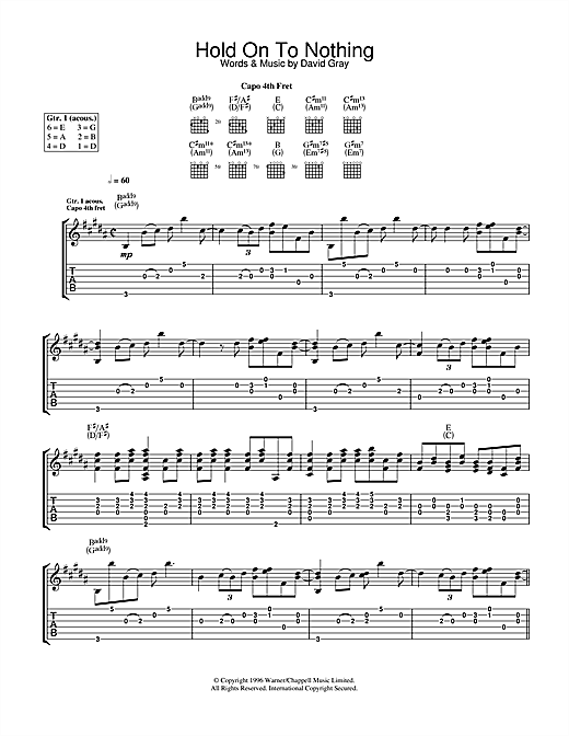 Hold On To Nothing Sheet Music