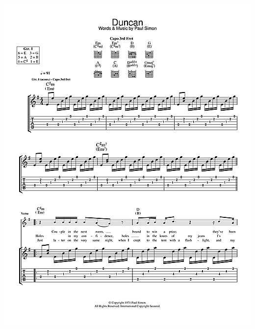 Tablature guitare Duncan de Paul Simon - Tablature Guitare
