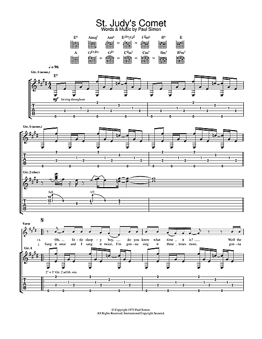 Tablature guitare St. Judy's Comet de Paul Simon - Tablature Guitare