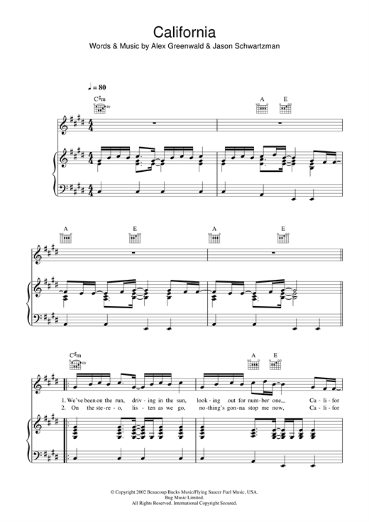Partition piano California (theme from The OC) de Phantom Planet - Piano Voix Guitare