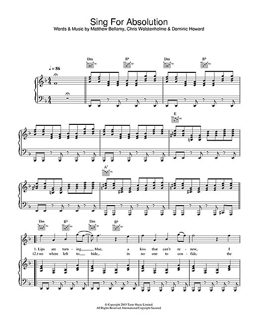 Sing For Absolution Sheet Music
