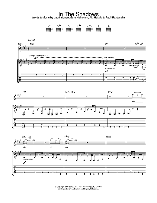 Tablature guitare In The Shadows de The Rasmus - Tablature Guitare