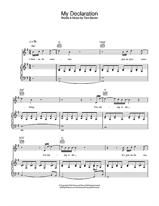 Partition piano My Declaration de Tom Baxter - Piano Voix Guitare