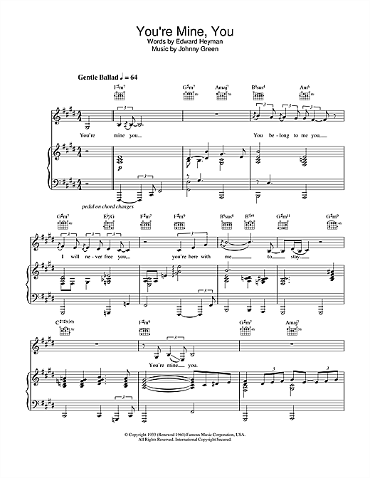 Partition piano You're Mine, You de Natalie Cole - Piano Voix Guitare