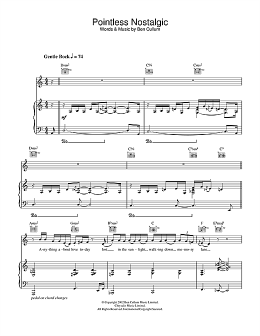 Pointless Nostalgic Sheet Music