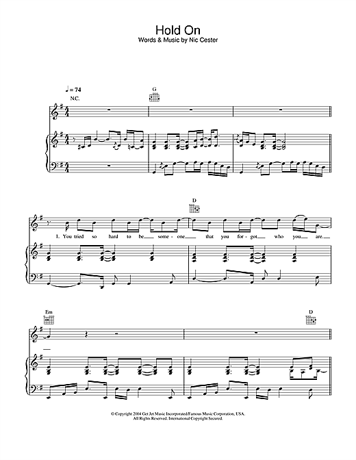 Hold On (Piano, Vocal & Guitar)