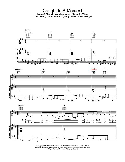 Caught In A Moment Sheet Music