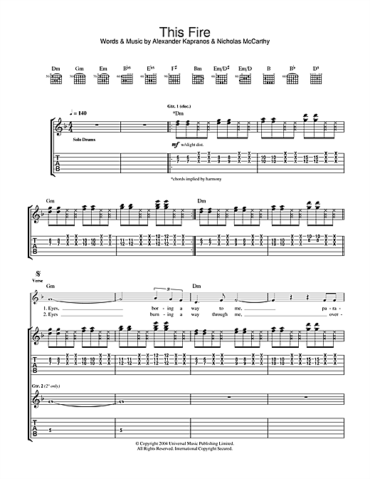 Tablature guitare This Fire de Franz Ferdinand - Tablature Guitare