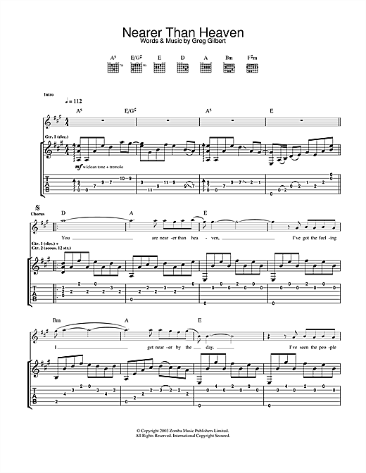 Tablature guitare Nearer Than Heaven de The Delays - Tablature Guitare