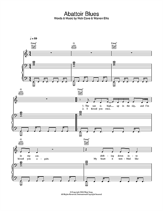 Abattoir Blues Sheet Music
