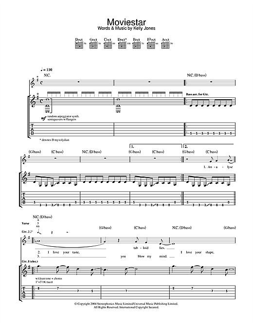 Tablature guitare Moviestar de Stereophonics - Tablature Guitare