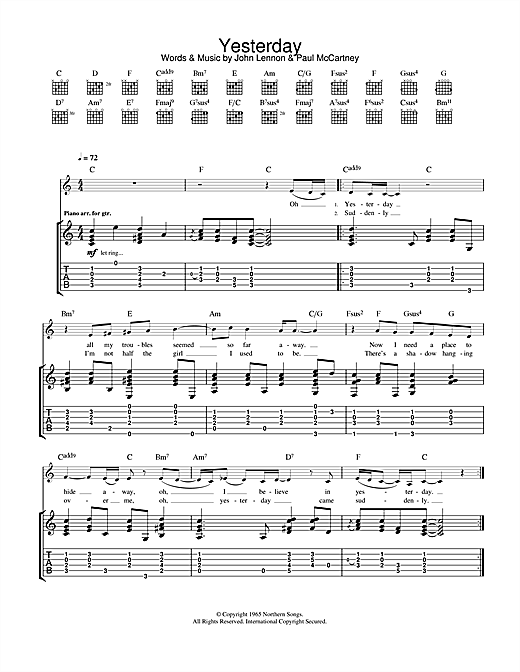 Tablature guitare Yesterday de Eva Cassidy - Tablature Guitare