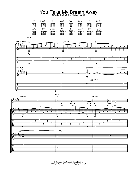 Tablature guitare You Take My Breath Away de Eva Cassidy - Tablature Guitare