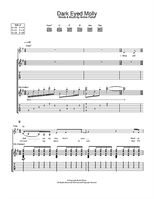 Tablature guitare Dark Eyed Molly de Eva Cassidy - Tablature Guitare