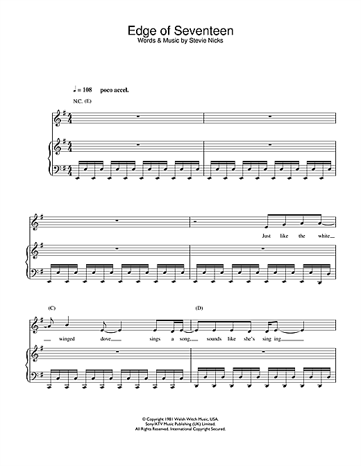 Edge of Seventeen (from School Of Rock) Sheet Music